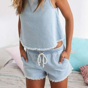 aerie blue drawstring denim shorts